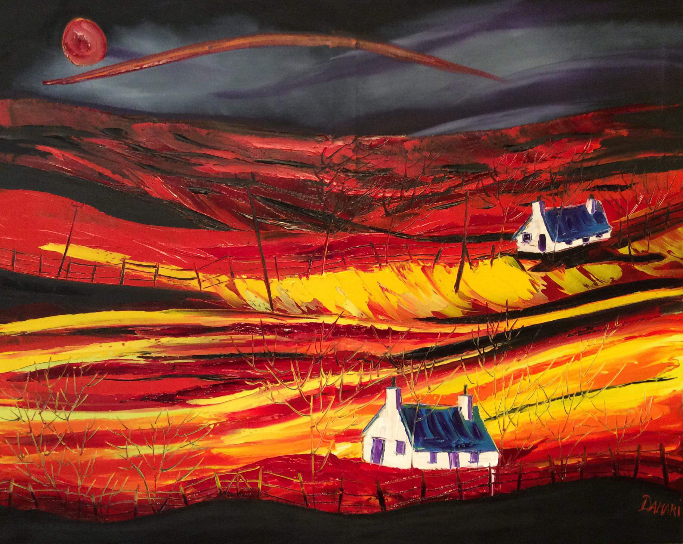 Sunset at the Crofts Argyll, oil on canvas by John Damari
