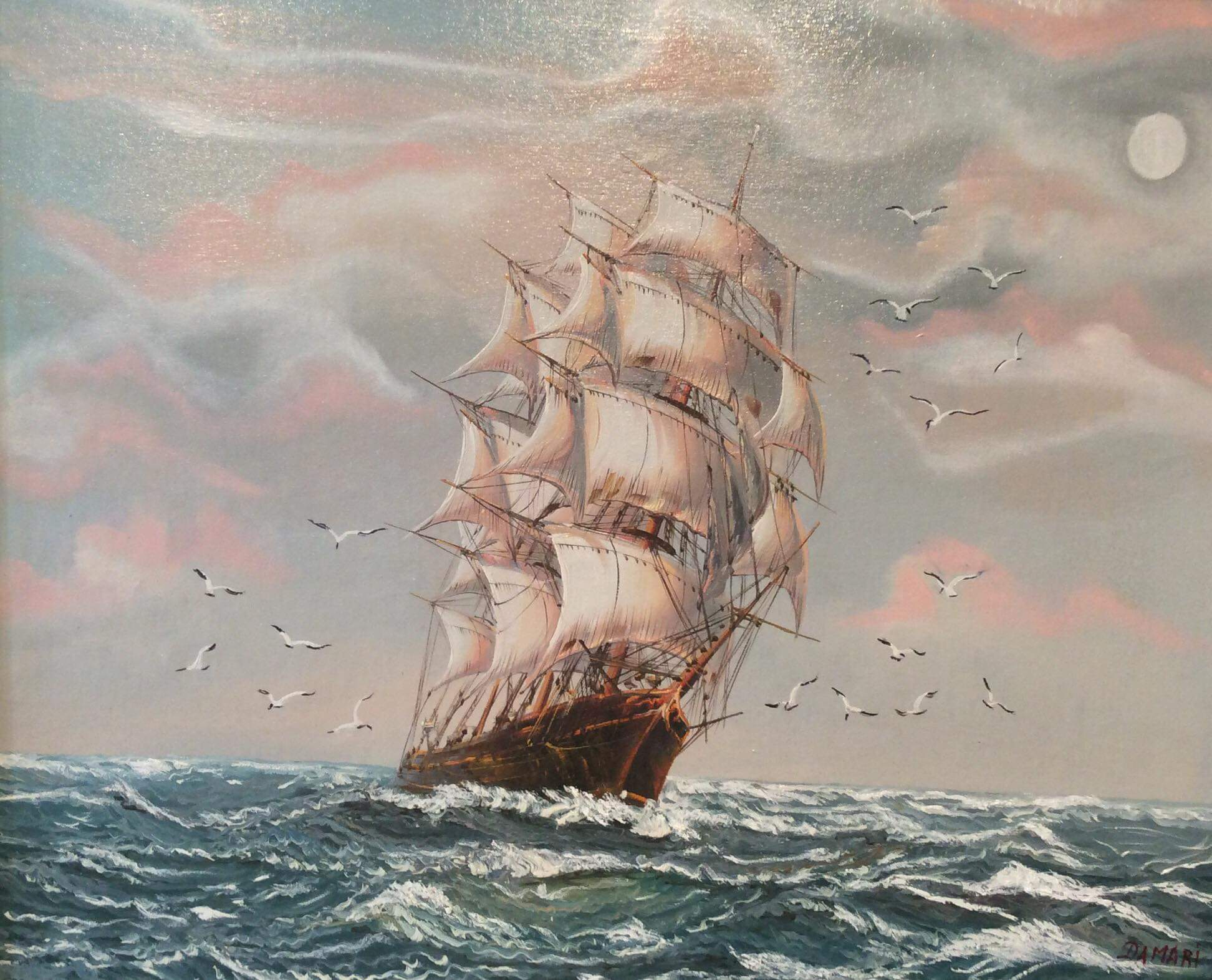 Moonlight sailing to the Indis, oil on canvas by John Damari