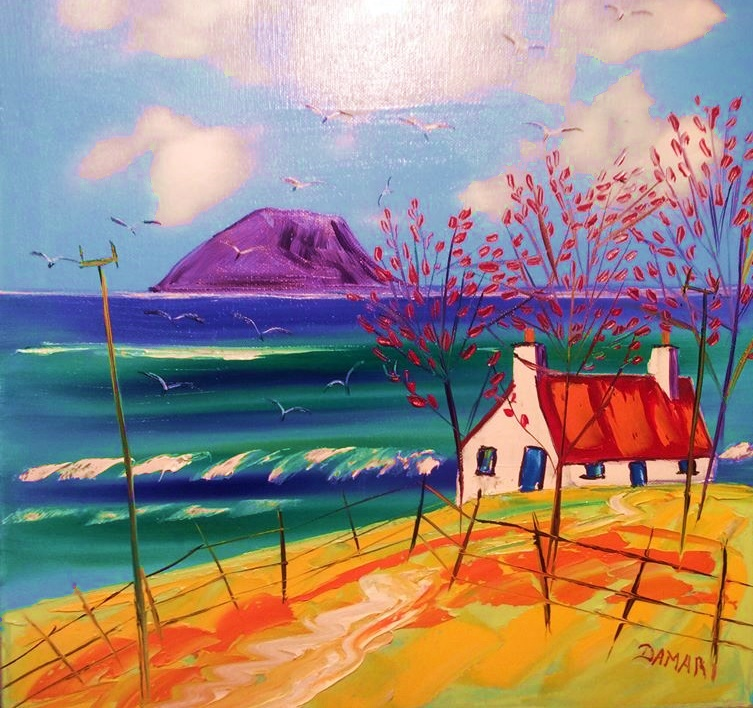 Wee Croft Looking Towards Ailsa Craig Ayrshire oil on Canvas by John Damari