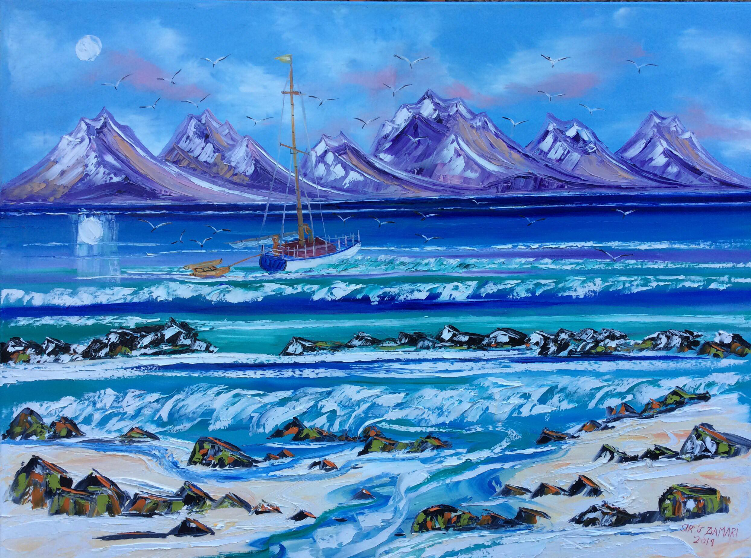 Sailing at the Minch W East, oil on canvas by John Damari