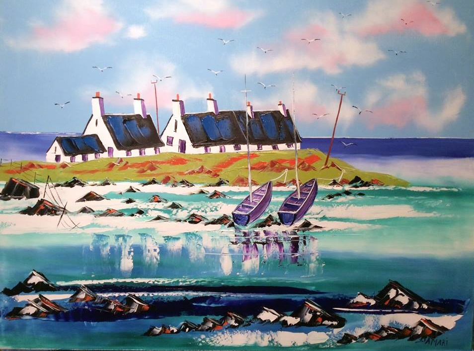 Crofts at Scarnish Inner Hebrides oil on canvas by John Damari