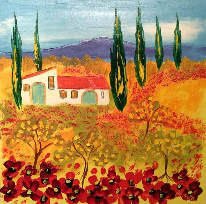 Casa Mia Spicciano Tuscany Oil on Canvas by John Damari