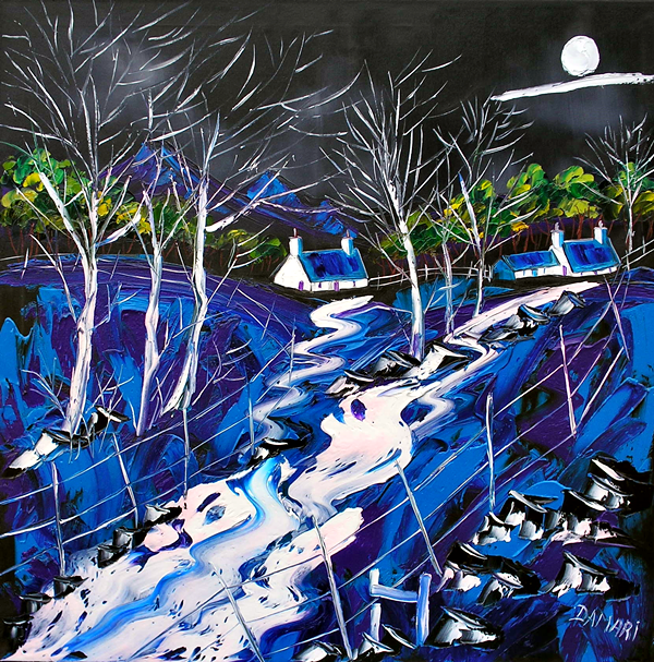 Moonlit night at the croft 's Argyll 60x60