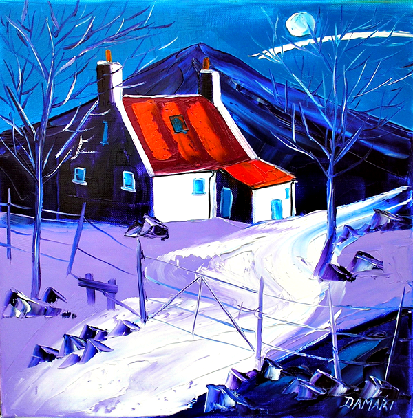 Moonlit night at the croft isle of Mull 16x16