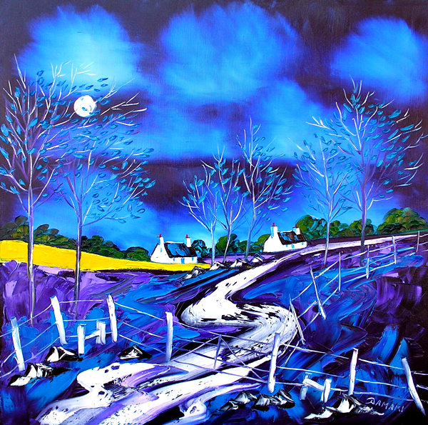 Moonlit night at the crofts crinan Argyll 24x24 Oil on Canvas by John Damari