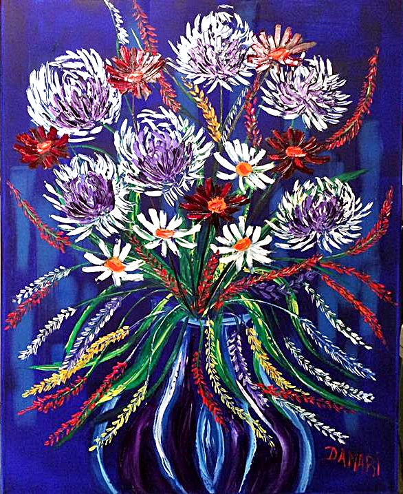 Chrysanthemums an explosion of colour oil on canvas by John Damari