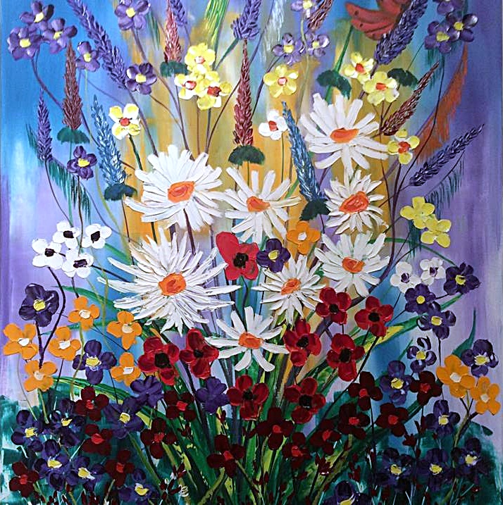 Daisies Poppies and Pansies  oil on canvas by John Damari