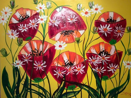 "Poppies and Daisys 24""x24"" Oil on Canvasby John Damari"