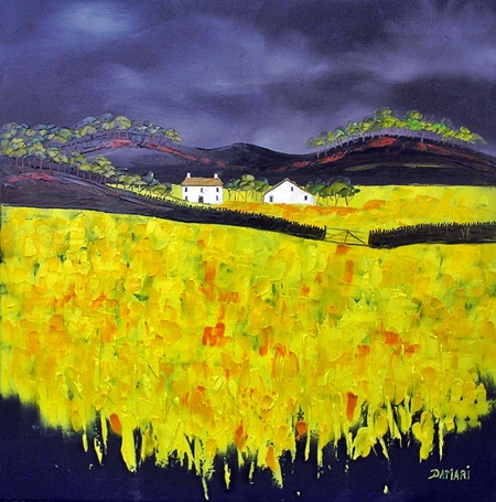 Storm over crofts oil on canvas by John Damari