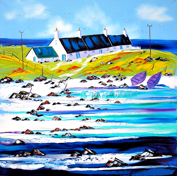 Crofts at Scarnish inner Hebrides 80x80 Oil on canvas by John Damari