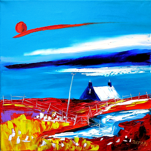 Sunset light on the Isle colonsey 40x40 Oil on Canvas by John Damari