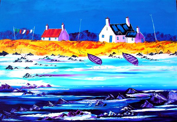 the washing line at the Crofts BenBecula oil on canvas created 18-4-16 118x82