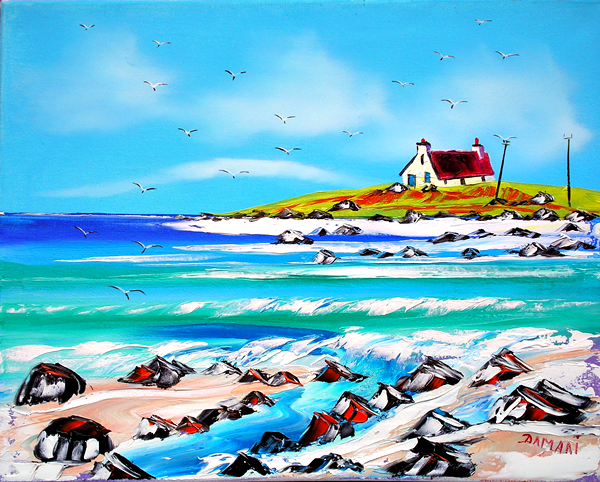 Wee croft north uist outer hebrides 51x40 Oil on canvas by John Damari