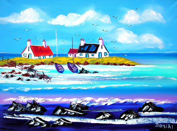 Wee crofts at Sollas North Uist 61x46 Oil on canvas by John Damari