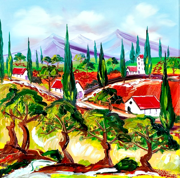 Olive groves at San Atimo Tuscany Oil on Canvas by John Damari
